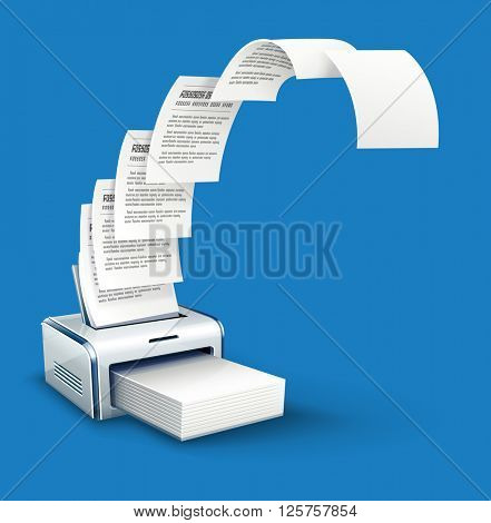 Printer printing copies of text to paper with copyspace vector icon. White blank pages moving from printer. Office work concept. Copying documents device. illustration