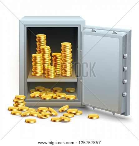Safe full of gold coins money from open door vector illustration. Isolated white background. Golden business concept banking financial industry. Saving in place icon