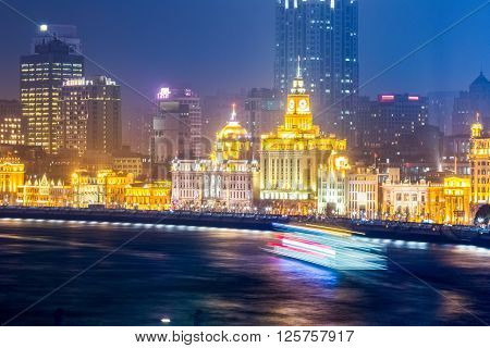 shanghai bund closeup outstanding historical buildings and the huangpu river at night