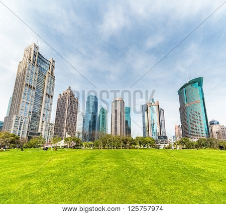 greenland in city park with modern buildings in shanghai