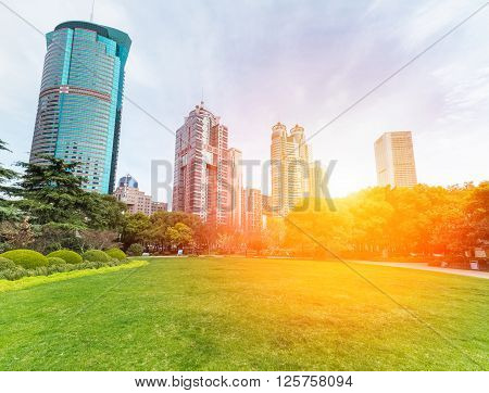 lujiazui central greenland with modern buildings in sunlit springshanghaiChina.
