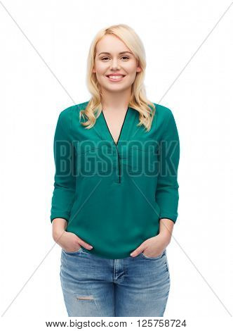female, gender, portrait, plus size and people concept - smiling young woman in shirt and jeans