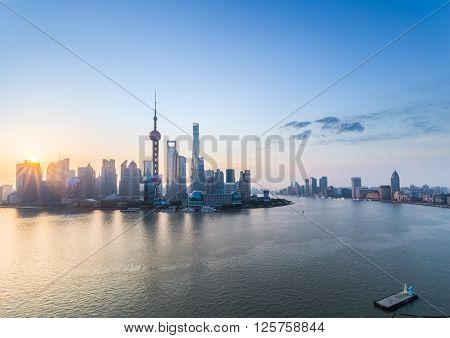 beautiful shanghai in sunrise pudong skyline and huangpu river China.