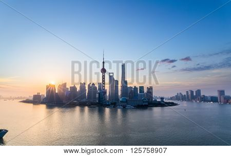 charming shanghai in sunrise pudong skyline and huangpu river China.