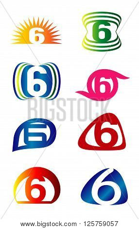 Set of Number six 6 logo icon template elements set