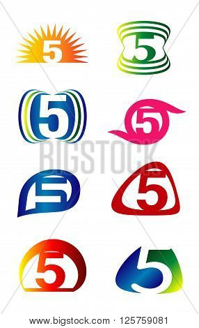Number five 5 logo icon template elements set