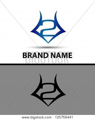 Number logo design.Number two logo.Logo 2 vector template