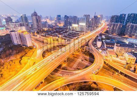 urban grade separation bridge in nightfall shanghai China