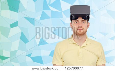 3d technology, virtual reality, entertainment and people concept - young man with virtual reality headset or 3d glasses over blue low poly texture background,