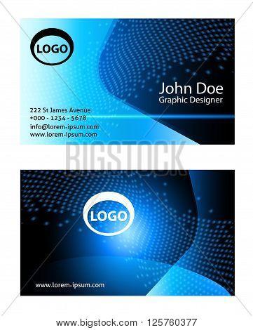 Blue business card templates. Business Card Set. Vector illustration. EPS10