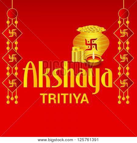 illustration of a celebration background for Akshaya Tritiya with kalash.