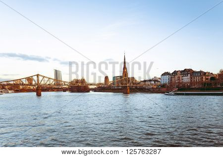 River view of The Eiserner Steg.The Eiserner Steg is a pedestrian bridge in Frankfurt am Main