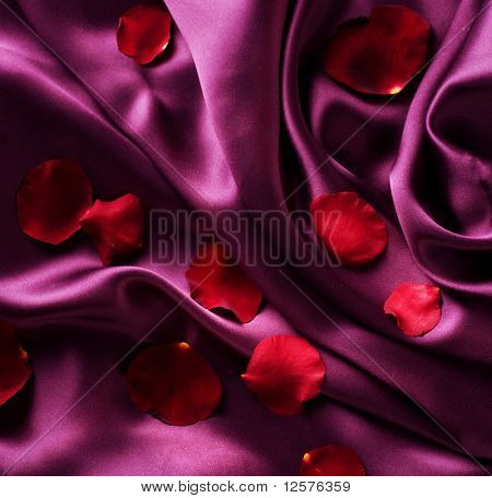 Red Silk And Rose Petals