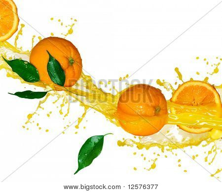 Orange fruits and splashing Juice in motion.
