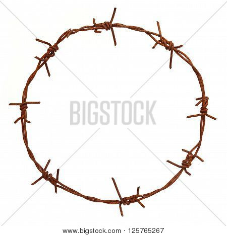 Closeup of rusty barbed wire over white background