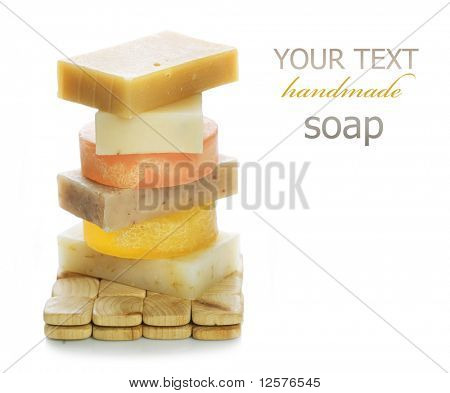 Natural Handmade Soap Stack.Isolated on white