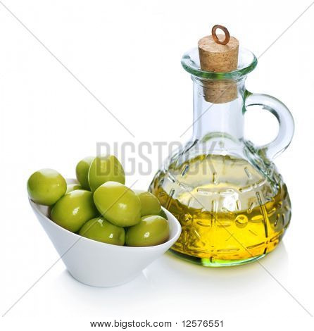 Olive Oil and Olives over white