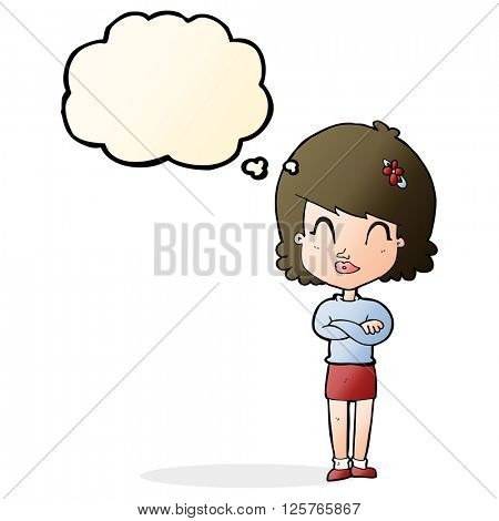 cartoon happy woman with folded arms with thought bubble