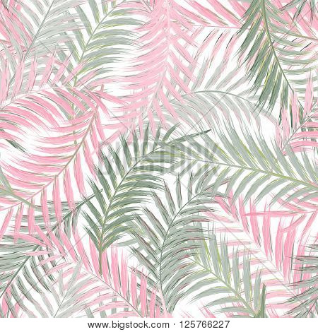 Leaves of palm tree. Seamless pattern. Palm leaf in gray pink on white background. Tropical trees leaves.