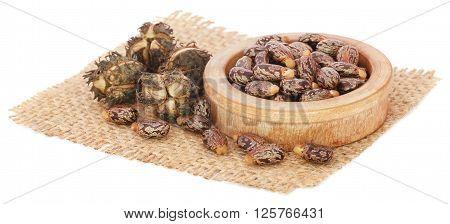 Castor beans in a bowl on jute sack over white background