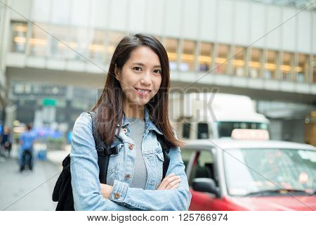 Woman go travel in Hong Kong