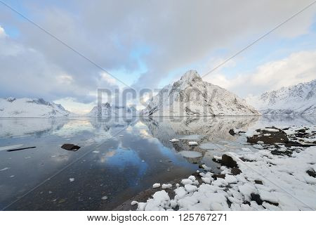 Kjerkfjorden Fjord And Olstinden Mountain