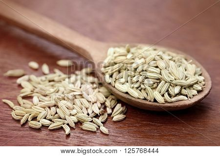 Fennel seeds in a wooden spoon over white background