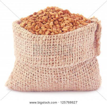 Fenugreek seeds in sack over white background