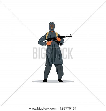 Armed man in a mask on a white background
