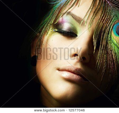 Moda bela mulher Face.Perfect maquiagem