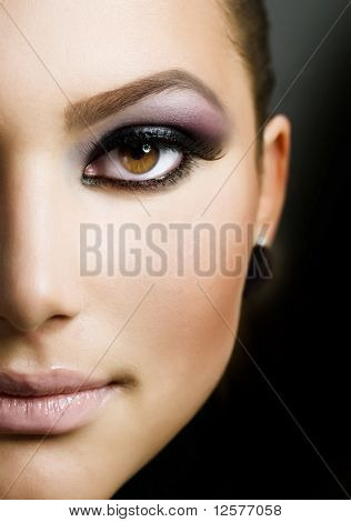 Mooi meisje Face.Perfect make-up