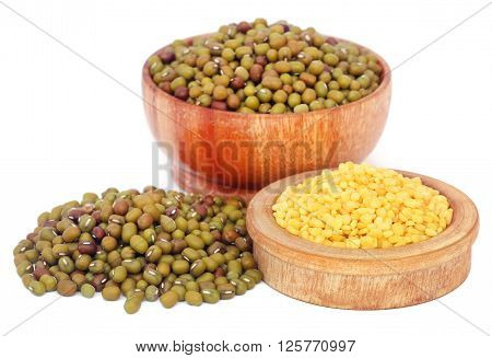 Close up of mung bean over white background