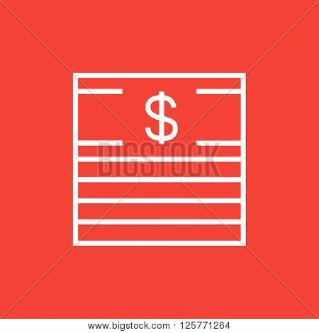 Stack of dollar bills line icon.