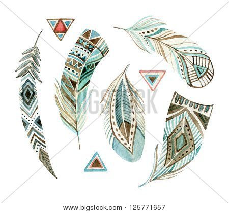 watercolor tribal feather set. Abstract ornate feather collection. Hand painted illustration isolated on white background for design in tribal and boho style