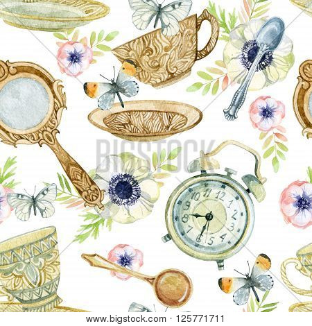 Watercolor tea seamless pattern. Watercolor tea cup background with spoon mirror alarm clock flowers and butterfly. Tea crockery in Victorian style. Hand painted illustration for your design