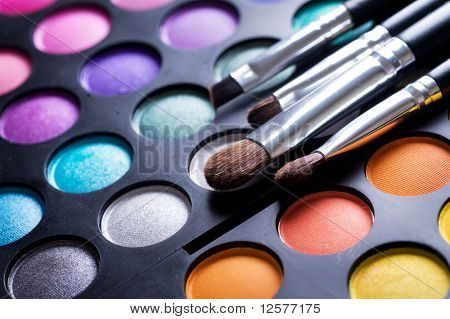 Make-up Pinsel und Make-up Lidschatten