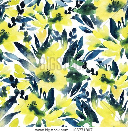 Abstract floral seamless pattern. Watercolor flowers on white background. Hand painted watercolor yellow flowers illustration