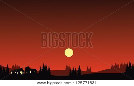 House and moon at night in hills silhouette