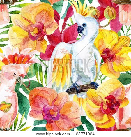 watercolor Australian Cockatoo on flowers background hand painted seamless patern with parrots plumeria and tropical leaves