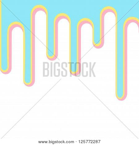 Flowing down 3D paint blue pink and yellow. Isolated. Template. Vector illustration.