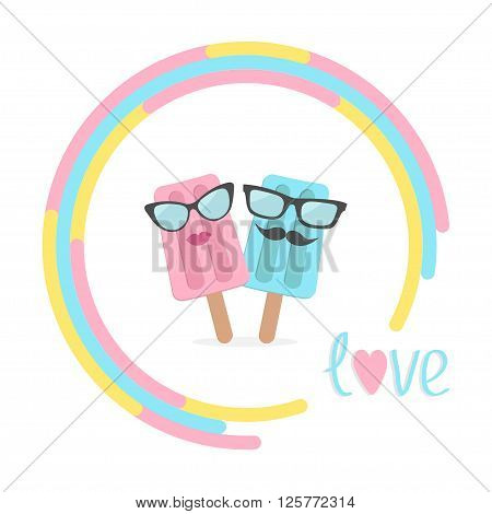 Ice cream couple with lips mustaches and eyeglasses in the circle. Love card. Vector illustration.
