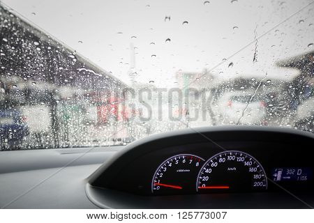 Rain drops on windshield car, Vintage Effect ** Note: Soft Focus at 100%, best at smaller sizes