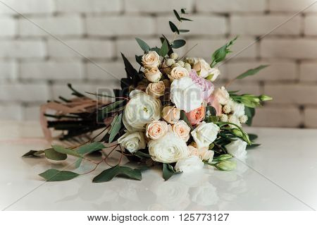 Beautiful Modern Wedding Bouquet On Table