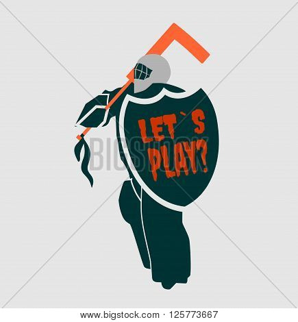 Vector illustration of ice hockey goalie with knight shield. Lets play motto. Sport metaphor. Sport relative quote
