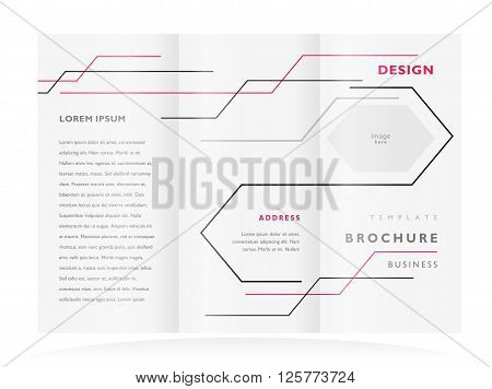 brochure design template tri-fold vector geometric abstract lines