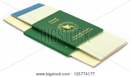 Two passportss of Bangladesh over white background
