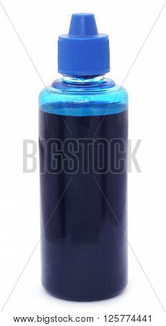 Close up of Printer ink bottle over white background