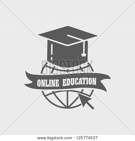 Online Education Logo, Label Or Badge Concept. Earth Globe And Mortar Board On White Background