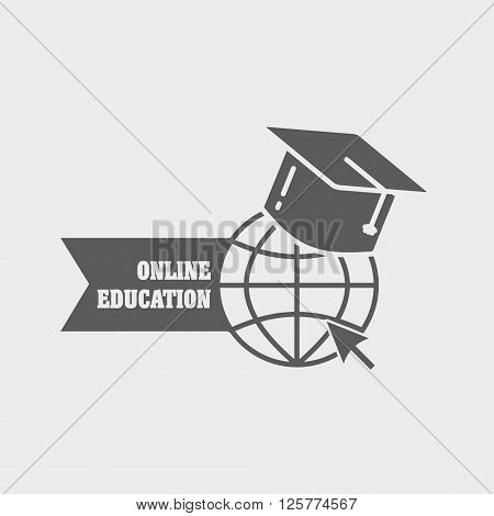 Online Education Logo , Label Or Badge Concept With Earth Globe And Mortar Board