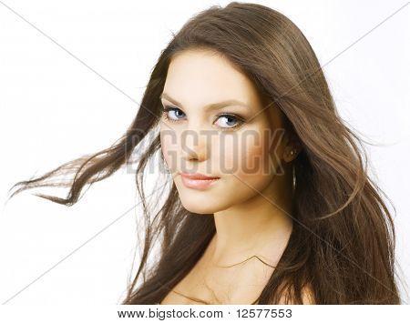Beautiful Girl with long Hair.Perfect Skin